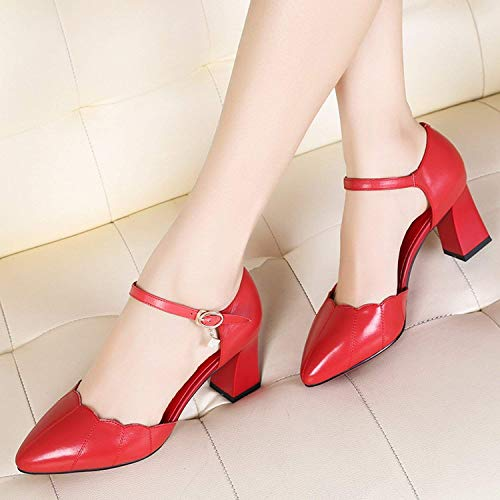 coloré Taille Épais Oudan Chaussures 39 Crémeux Talons Avec Simples À Blanc Crémeux Des 1pv0q