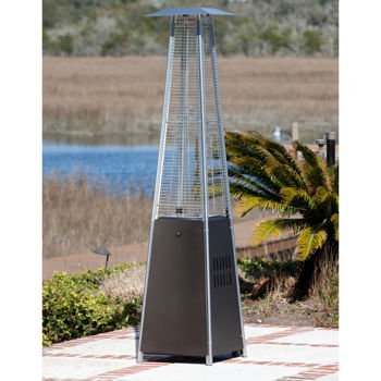 Outdoor Heater Finish - Golden Flame Resort Model 40,000 BTU Glass Tube Pyramid Style Flame Patio Heater in Rich-Mocha Finish