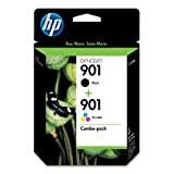 HP CN069FN#140 901 Black & Tri-color Original Ink Cartridges, 2 Cartridges (CC653AN, CC656AN)