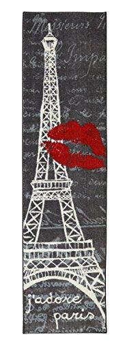 Mohawk Home Aurora Paris Love Eiffel Tower Printed Rug, 2'x8', Cream