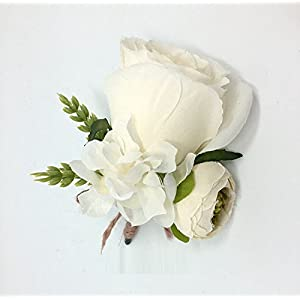 Hoocozi Groom Artificial Silk Boutonniere, Best Men Wedding Rose Penoy Flowerswith Ear of Wheat Soft Silk Corsage from, 1Pce, White 1