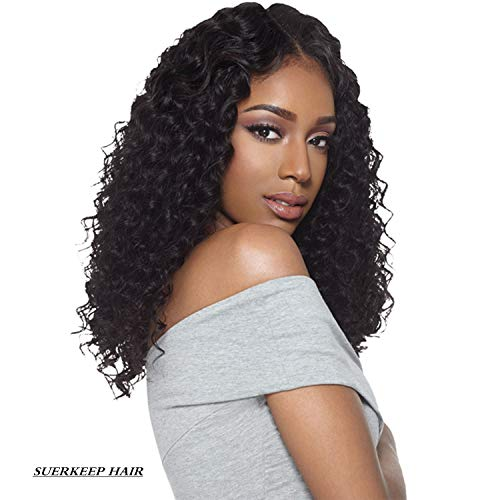 360 Water - Suerkeep Glueless 360 Water Wave Lace Front Wigs Pre-Plucked 150% Density Top Quality Brazilian Human Hair Lace Frontal Wig Water Wave With Baby hair(16Inch, Natural Black)