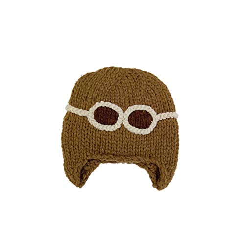 (Hongxin Baby Knit Dome Cap,Girls Boys Aviator Embroidered Wool Winter Warm Knit Hat (Khaki, 2-8 Months Baby))