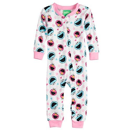 Sesame Street Girls' Toddler Elmo and Friends Cotton Onesie, White, 3T]()