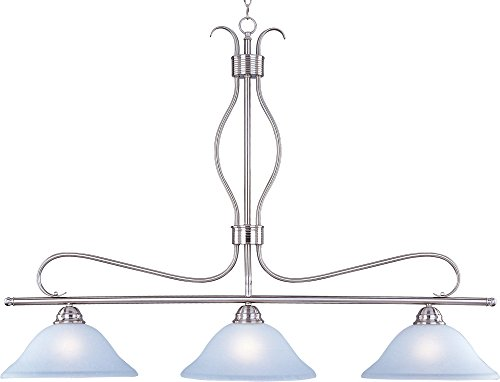 Maxim 10127ICSN Basix 3-Light Pendant, Satin Nickel Finish, Ice Glass, MB Incandescent Incandescent Bulb, 100W Max, Dry Safety Rating, Standard Dimmable, Onyx Shade Material, 9200 Rated Lumens ()