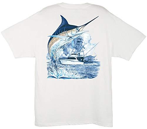 Guy Harvey Men's Marlin Boat T-Shirt, White, 2XL (Best Shirts For Guys)