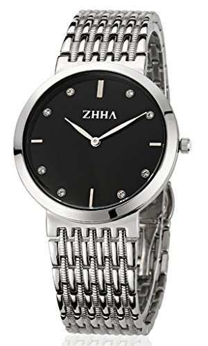 ZHHA Men's Watches 008 Quartz Black Dial Stainless Steel Bracelet Wrist Watch Waterproof
