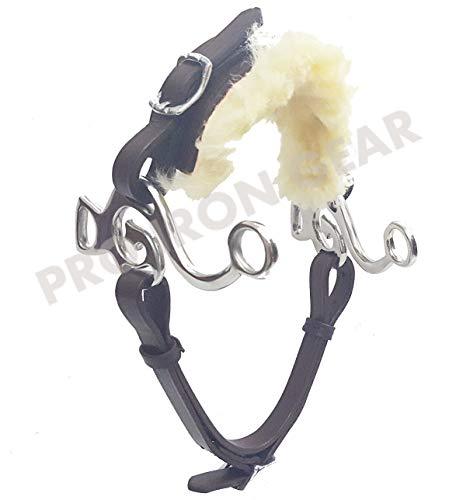 (PRO IRON GEAR Hackamore Bitless Horse Bit English Western Adjustable Leather (Brown))