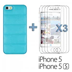 Bloutina OnlineBestDigital - Sofa Look PU Leather Hard Back Case for Apple iPhone 5S / Apple iPhone 5 - Light Blue with...