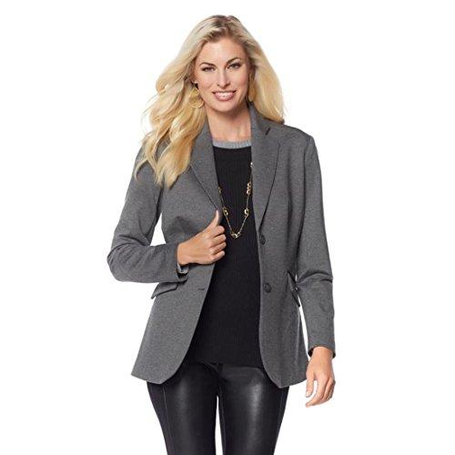 Ponte Knit Blazer (DG2 Diane Gilman Stretch Ponte Boyfriend Blazer Knit V-Neck Gray 1X New 560-470)