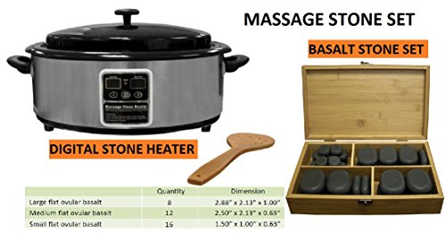Set of 36 Massage Basalt Stones and a Digital Stoner Warmer, perfect Kit for Massage Spa by DERMALOGIC