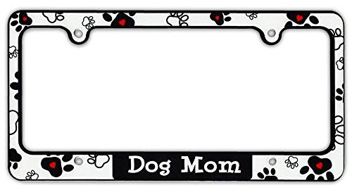 amazoncom plastic license plate frame tag holder dog mom dogs hearts paws automotive - Dog License Plate Frames