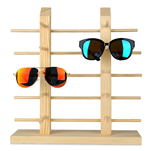 Solid Wood Glass Display Holder Sunglass Display Holder Wood Glass Display Rack Double Linen Glass Showcase (5-Layer)