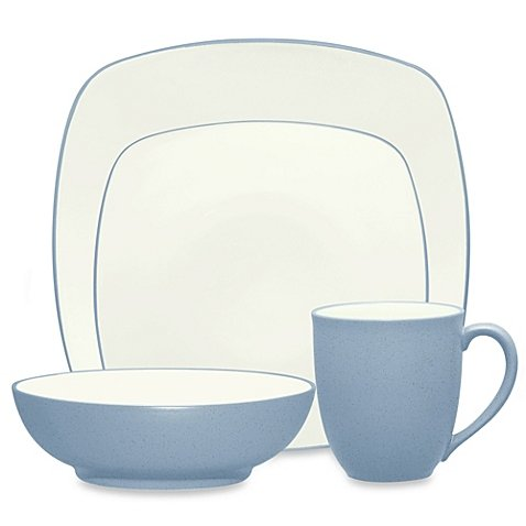Noritake Colorwave Square Simple Chic Dinnerware Dishwasher Microwave Safe Imported Stoneware 4-Piece Place Setting, - Graphite Noritake Colorwave Square