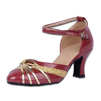 XIAMUO Nicht anpassbar - Die Frauen tanzen Schuhe Leder Leder Latin/Moderne Turnschuhe Ferse Praxis, Gold, UNS 6,5-7/EU 37/ UK 4,5-5/CN 37
