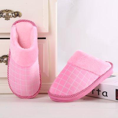 Habuji autunno e inverno il cotone pantofole per uomini e donne calde interne antiscivolo pantofole di casa alla fine di pavimenti in legno con trattamento di mezza pensione, 34-35, rosa