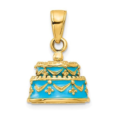 Mia Diamonds 14k Solid Yellow Gold 3-D Light Blue Enameled Happy Birthday Cake Pendant (17mm x 13mm)