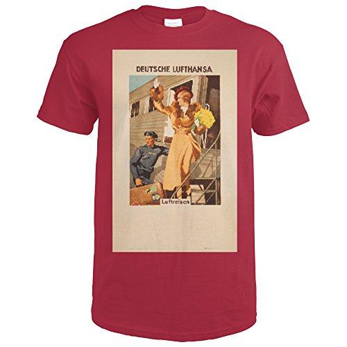 Deutsche Lufthansa Vintage Poster (artist: Engelhard) Germany c. 1935 (Cardinal Red T-Shirt Large)