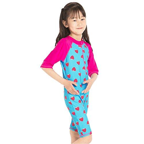 TFJH E Swimsuit for Girls Sun Protetion Short Sleeve Swimwear UV 50+ HotPink Cute,Strawberry 92/98