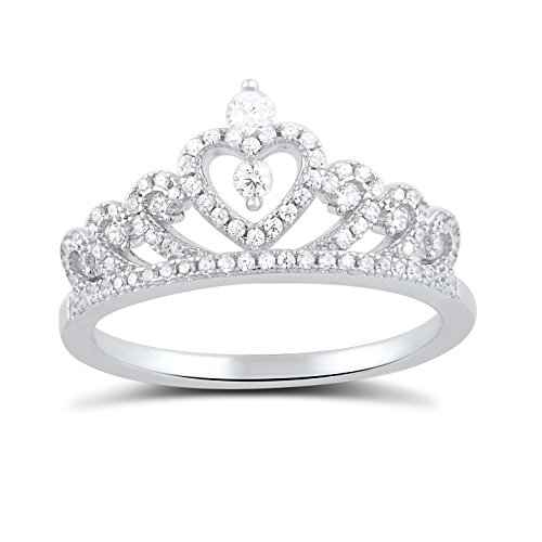 (Sterling Silver Cz Heart Crown Ring - Size 10)