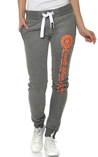 M.Conte Damen Sweat-Pants Jogginghose Trainingshose Freizeit-Hose Rot Pink Blau Grau Schwarz S M L XL Ramona Farbe Grau Orange M