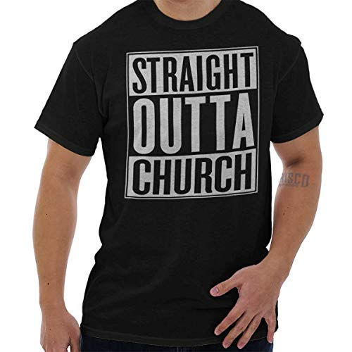 Straight Outta Church Funny Christian Shirt NWA Compton God T-Shirt Tee by Brisco Brands