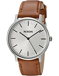 Nixon Porter A10572042-00. Leather/White Sunray Men's Watch (20-18mm Leather Band and 40mm White Watch Face)