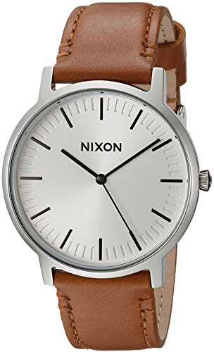 (Nixon Porter A10572042-00. Leather/White Sunray Men's Watch (20-18mm Leather Band and 40mm White Watch)