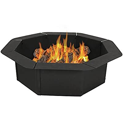 Sunnydaze Octagon Fire Ring Insert, DIY Fire Pit Rim Liner Above or In-Ground, Outdoor Heavy Duty 2.2mm Thick Steel, 38 Inch - LARGE SIZE: Overall 38 inch outdoor diameter (30 Inch Inner) x 10 inches tall with 4 inch outer lip; weighs 26.6 pounds. Each side is 11.5 inches long. DURABLE CONSTRUCTION: Metal firepit ring is made from sturdy 2.2mm thick steel sheeting and finished with a high-temperature paint for superior quality and higher resistance to rust. EASY TO ASSEMBLE: DIY wood burning fire pit rim kit assembles in minutes. Perfect for a campfire or backyard bonfire (NOTE: There is no bottom to this fire pit ring). - patio, fire-pits-outdoor-fireplaces, outdoor-decor - 41WRBGfaPFL. SS400  -
