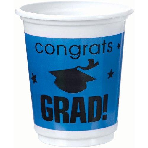 Congrats Grad Royal Blue Plastic 12 oz Cups
