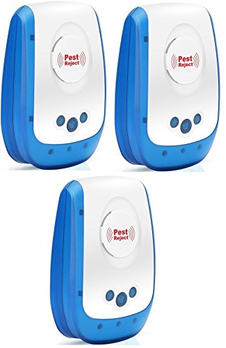 Bcurb Ultrasonic Pest Repeller - Best Electronic Plug In Pest Repellent - For Mice, Mosquitoes, Cockroaches, Ants, Rodents, Flies, Bugs, Spiders, Rats, Other Insects (Blue/White - 3 Pc)