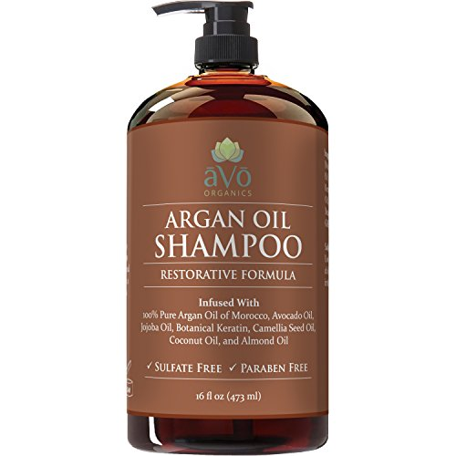 Argan Oil Daily Shampoo by aVo Organics, 16 oz - Moisturizing, Volumizing Vitamin Infused Gentle Hair Restoration, Sulfate Free, Moroccan Oil and Keratin - Natural Ingredients for Men and ()