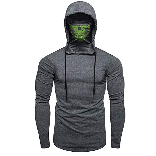 YOcheerful Mens Mask Skull Hoodie Solid Pullover Long Sleeve Hip Hop Hooded Sweatshirt Tops Blouse (Gray,US-XL/label-2XL)