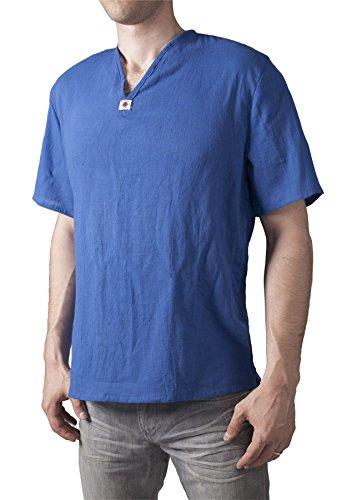 Lofbaz Men's V-Neck T-Shirt 100% Cotton Thai Hippie Shirt Yoga Top Dark Blue L - Gauze Pirate Shirt