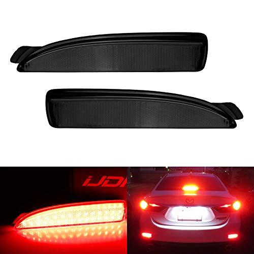 iJDMTOY Smoked Lens 90-SMD LED Bumper Reflector Lights For Mazda 3 5 6, Function as Tail, Brake & Rear Fog Lamps (Mazda 3 Reflector)
