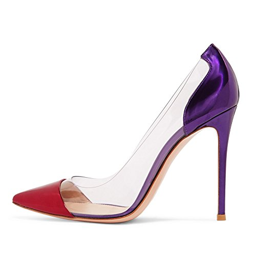 b3395d5ca1464a Amarantos Women s ATAX018 Pointy Toe 12cm Pencil Heel Transparent Sides  Dress Party Stiletto Shoes Red Purple