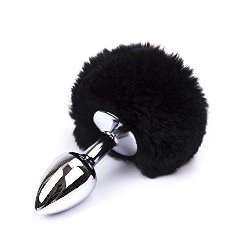 Small Metal Rabbit Tail Anal Butt Plug (Black)
