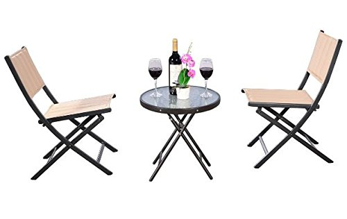 K&A Company Set Patio Table Chairs Iron Vintage Dining Woodard Wrought Mid Century Chair Cast Aluminum Folding Steel 3 pcs