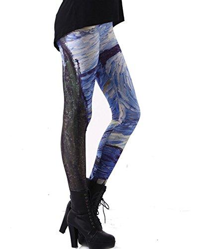 SaiDeng Mujer Diferentes Patrones De Impresión Chic Elástico Leggings Pantalones Estilo 3