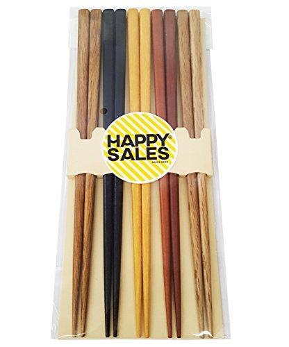 Happy Sales HSCH22/S, 5 pares de palillos de bambú japonés con diseño multicolor, set de regalo, Mnt