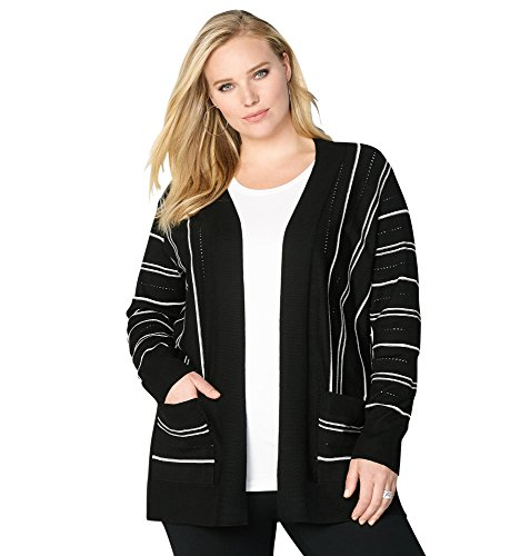 Avenue Women's Black Pick Stitch Striped Cardigan, 26/28 Black White