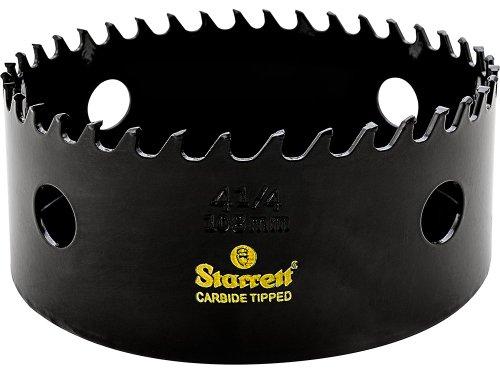 Starrett CT414 Steel High Performance Triple Chip Tungsten Carbide Tipped Hole Saw, Carbide Teeth, 4-1/4