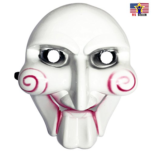 Jigsaw Puppet Costumes (Jigsaw Saw Billy Puppet Face Mask Guy Halloween Cosplay Anonymous White MASK)