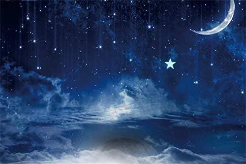 Good Night 10x10ft Vinyl Photography Background Blue Sky Night View Twinkle Stars Golden Moon Sparkle Dots Children Baby Kids Personal Portraits Shoot Studio Photo Prop Decor Wallpaper
