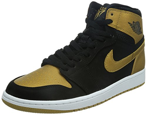 Jordan Nike Men's Air 1 Retro High Black/Metallic Gold/White Basketball Shoe 11 Men US