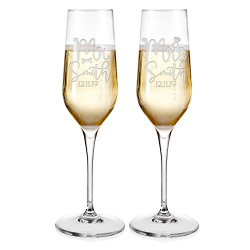 Set of 2 Champagne Flutes for Wedding Mr and Mrs Champagne Glasses | Couples Anniversary Celebration Bridal Shower Gifts - #D23