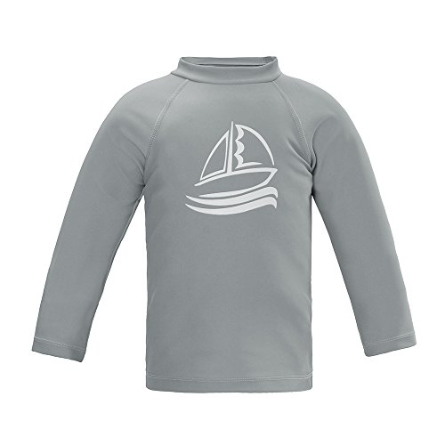 Boys' Long Sleeve Rashguard Surf Swim Shirt UPF 50+ Sun Protective Outdoor Swimwear, Gray 3T