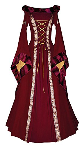 Ofenbuy Womens Deluxe Victorian Dress Vintage Gothic Renaissance Medieval Dresses Cosplay Halloween Wine Red