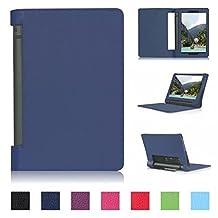 Tsmine Lenovo Yoga Tab 3 10 Tablet Flip Case - Premium Slim Magnetic Smart Cover Folio Protective PU Leather Case Stand for Lenovo Yoga Tab 3 10.1 (NOT Fit Yoga Tab 3 Pro 10), Navy