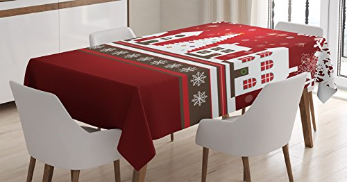 Christmas Tablecloth by Ambesonne, Winter Holidays Theme Gingerbread House with Trees and Snowflakes Artwork Print, Dining Room Kitchen Rectangular Table Cover, 52 W X 70 L Inches, Red White